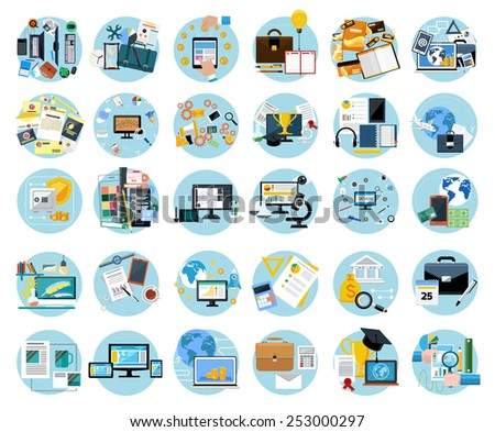 Icons set banners for business work, mobile payment, pay per click, brand design, creative process, banking, analysis in flat design - stock vector