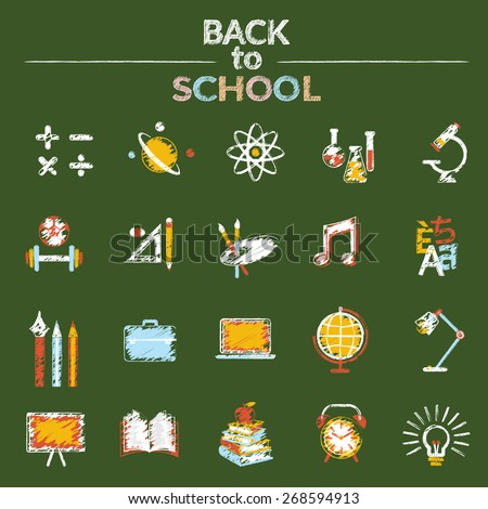 Icons Set Chalk Drawing Style, School, Education, Learning and Study - stock vector