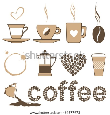 Icons set coffee and crockery for coffee - stock vector