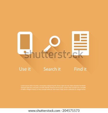 Icons Set - Flat UI Design - stock vector