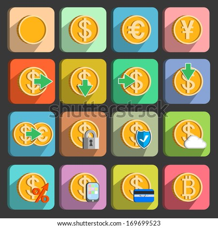 Icons set for electronic payments and transactions UI design in gold isolated vector illustration - stock vector