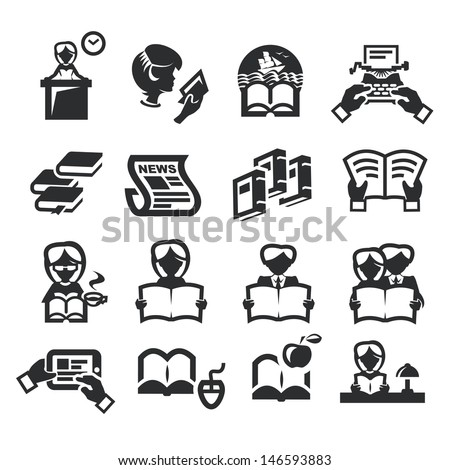 Icons set literature - stock vector