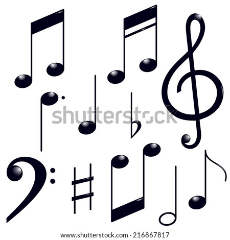 Icons set music note - stock vector