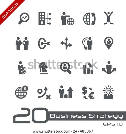 Icons Set of Business Strategy and Management // Basics - stock vector