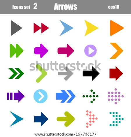 icons set of colors arrows - stock vector