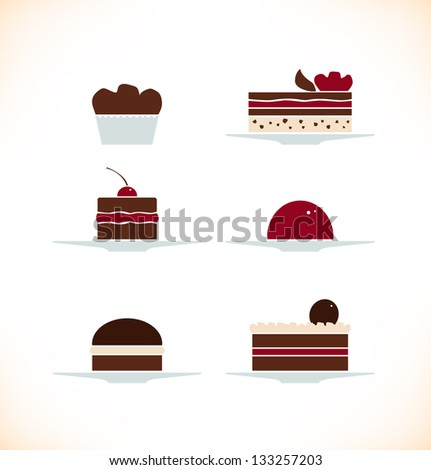 Icons set of different sweets, biscuits, cakes. Bakery collection can be used for design cafe menu etc - stock vector