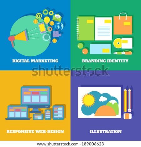 Icons set of digital marketing branding identity responsive web design vector illustration - stock vector
