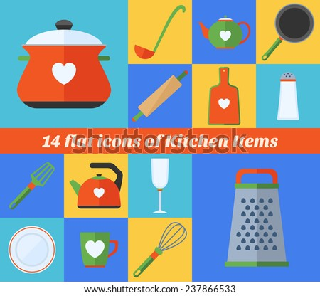 Icons set of kitchen items.   Collection of tableware made in flat design - stock vector