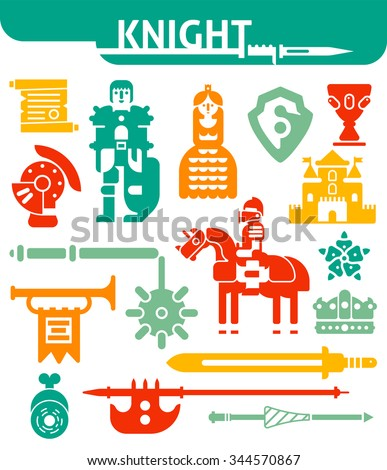 Icons set of knights rewards and different medieval weapons drawn in flat style isolated vector illustration - stock vector