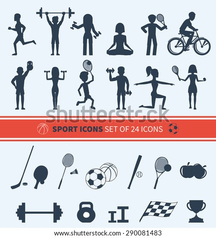 Icons set of man and woman doing warm-up and exercises with kettlebell, barbell and dumbbells. People jogging, practising yoga, playing basketball and tennis black icons - stock vector