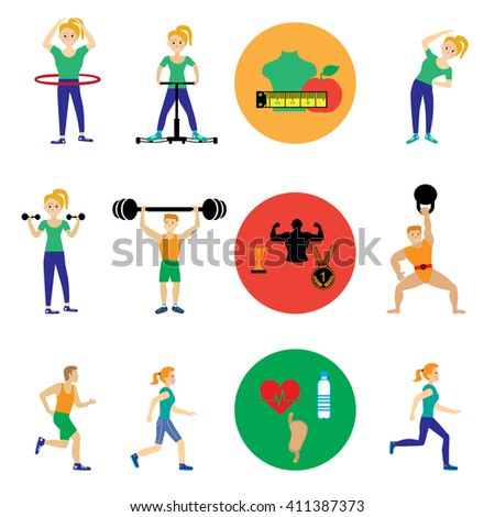 Icons set of man and woman doing warm-up and exercises with kettlebell, barbell and dumbbells on white background - stock vector