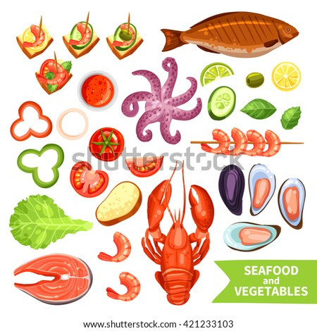 Icons set of seafood like fish and lobster and vegetables like tomato or pepper flat isolated vector illustration - stock vector