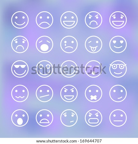 Icons set of smiley faces for mobile application interface isolated vector illustration - stock vector