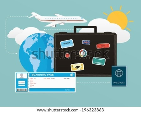 Icons set of traveling, objects of tourism and travel in the flat design. Concept Business travels and leisure - stock vector