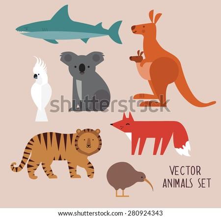 Icons set of vector animals isolated on beige background. Vector illustration of cute animal set including kangaroo, fox, cockatoo, tiger,shark, kiwi, and koala. - stock vector