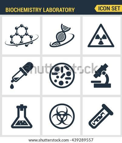 Icons set premium quality of biochemistry research, biology laboratory experiment. Modern pictogram collection flat design style symbol . Isolated white background - stock vector