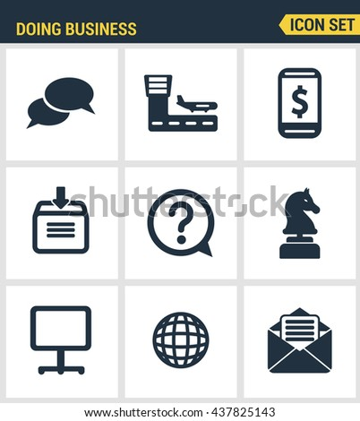 Icons set premium quality of doing business using technology and communication. Modern pictogram collection flat design style symbol . Isolated white background - stock vector