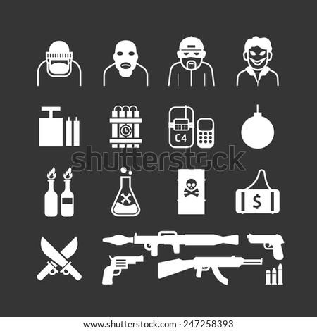 Icons set terrorist vector design. - stock vector