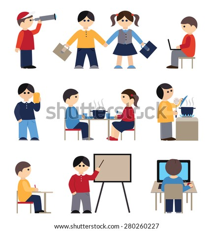 Icons set with people and students (flat conception, vector illustration) - stock vector