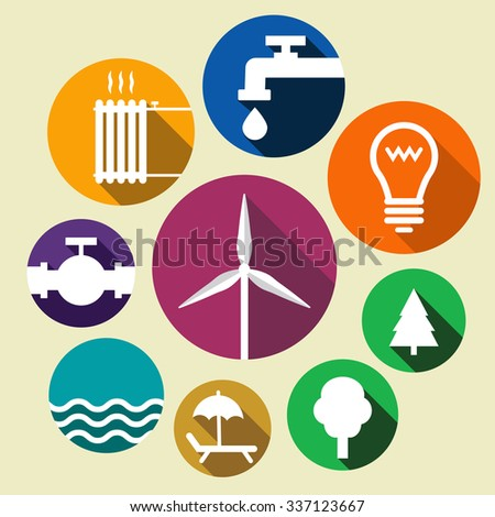 Icons showing green environment , energy, water, gas, heating supply - stock vector
