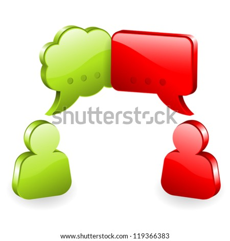 Icons Speech Bubbles and people, social media concept, easy to change colors, vector illustration - stock vector