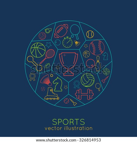 icons sports line. thin line of colored icons. logo. vector illustration - stock vector