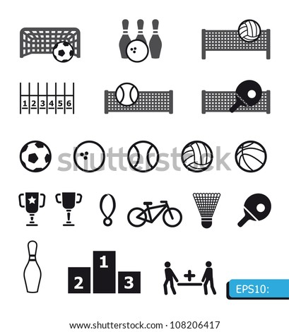 icons sports vector on black buttons - stock vector