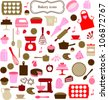 ICONS, SYMBOLS AND GRAPHIC ELEMENTS OF KITCHEN TOOLS. Editable vector illustration file. - stock vector