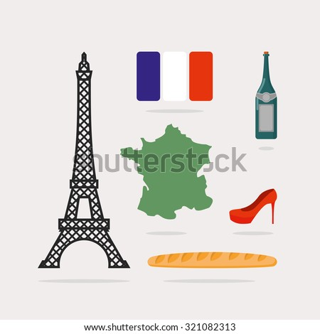 Icons symbols of France. Eiffel Tower and map country. Baguette and bottle of wine. French flag and red beautiful shoes. National characteristics of Paris. - stock vector