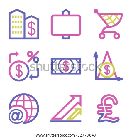 Icons three colours set 23 - stock vector