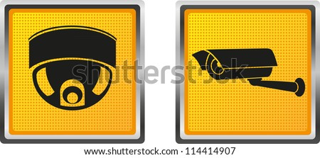 icons video surveillance camera for design vector illustration isolated on white background - stock vector