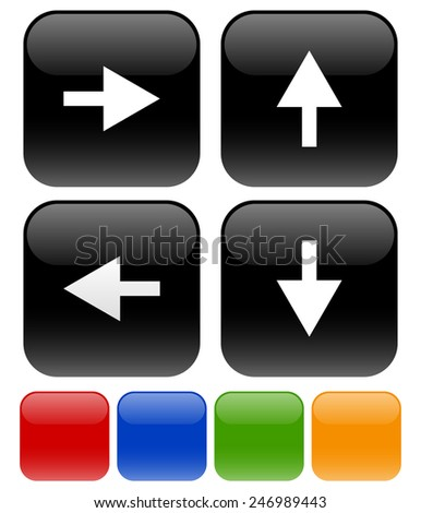Icons with Arrow symbols pointing every direction - stock vector