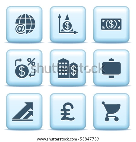 Icons with blue buttons 23 - stock vector