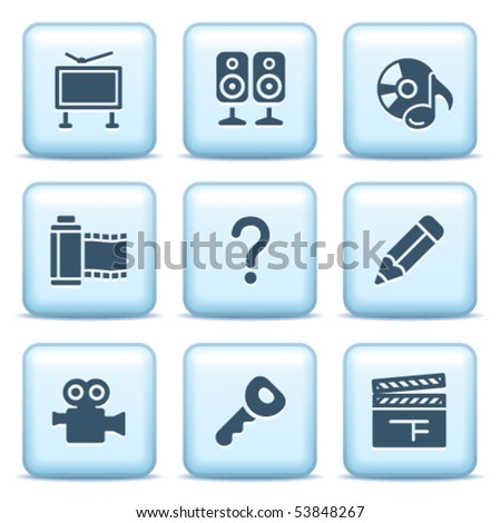 Icons with blue buttons 28 - stock vector