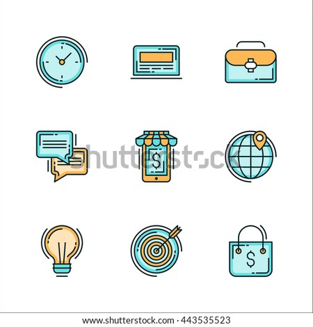 Icons with business related things. Colored flat vector illustration. Icons isolated on white background. Target, Idea, Money, Time management, Travel, Communication - stock vector