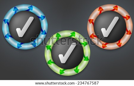 icons with color back light and check box - stock vector
