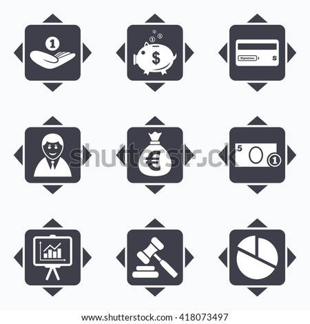 Icons with direction arrows. Money, cash and finance icons. Piggy bank, credit card and auction signs. Presentation, pie chart and businessman symbols. Square buttons. - stock vector