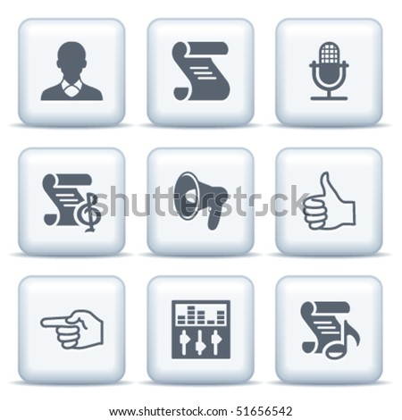 Icons with gray buttons 31 - stock vector