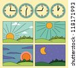 Icons with landscapes showing day cycle and clock showing the time of the day - morning, noon, afternoon, evening - stock vector