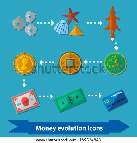 Icons with money evolution in flat style from stones to credit card - stock vector