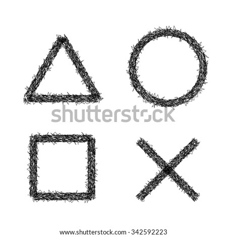 Icons with PS joystick in grunge style, scratch line/Icons with PS joystick in grunge style, scratch line/Icons with PS joystick in grunge style, scratch line - stock vector