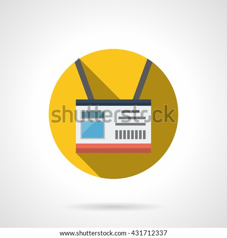 ID badge in yellow circle with long shadow. Identity card, admission for guests and staff at events. Flat color style vector icon - stock vector