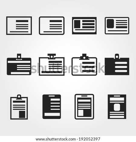 id card icons - stock vector