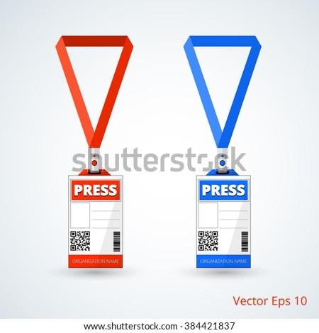 id card press with lanyard set. vector illustration - stock vector