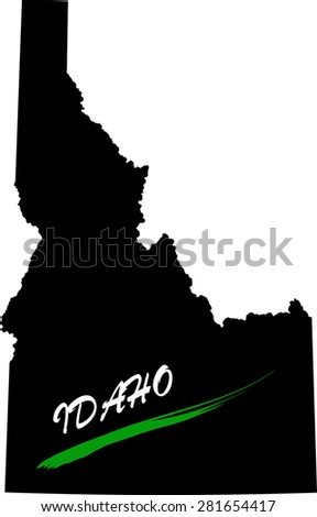 Idaho map vector in black and white background, Idaho map outlines in a new design - stock vector