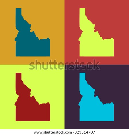Idaho state border map,retro colors. - stock vector