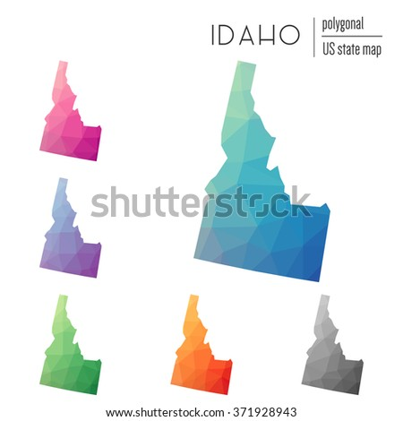 Idaho state map in geometric polygonal style. Set of Idaho state maps filled with abstract mosaic, modern design background. Multicolored state map in low poly style - stock vector