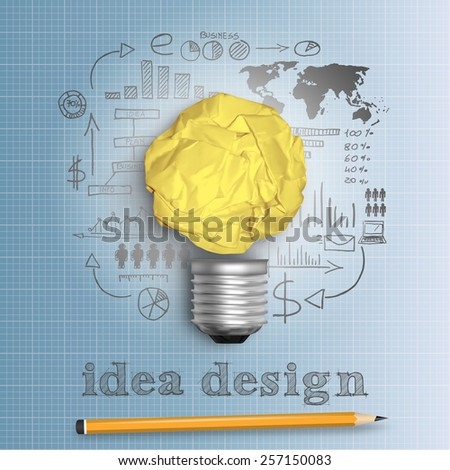 idea bulb concept design with plan strategy in vector format - stock vector