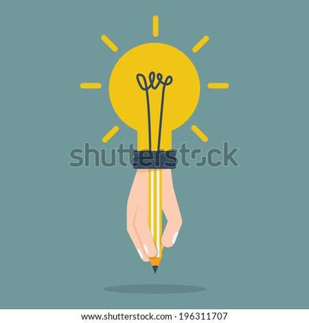 Idea bulb hand holding pencil.Vector EPS10  - stock vector