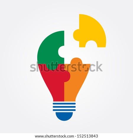 idea bulb jigsaw design.vector - stock vector